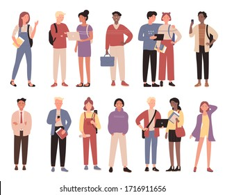 Multiracial community boys, girls from educational institution concept flat vector illustration set isolated on white background. Characters, students stand alone, in pair, talk, embrace, dream, think