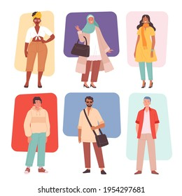 Multiracial fashion. Casual multicultural characters male and female clothes outfit woman cute dress pants jackets evening style nowaday vector illustrations