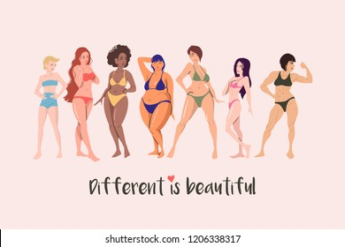 Multiracial female  cartoon characters of different height, figure type and size dressed in swimsuits standing in row.  Body positive movement and beauty difference. Vector illustration.