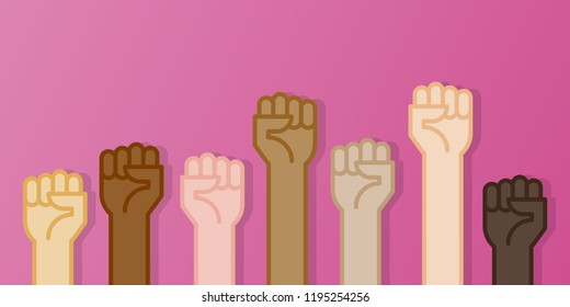 Multiracial fists hands up vector illustration. Breast cancer awareness month. Pink color. Flat design