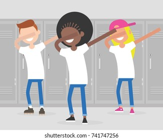 Multiracial group of teenagers dancing dab dance at school. Dabbing, Internet meme. Millennials having fun. Flat editable vector illustration, clip art