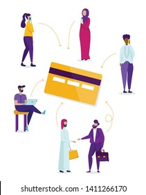 Multiracial Male and Female Characters Stand around Huge Credit Card Isolated on White Background. Arab and Caucasian Businessmen Shaking Hands, Freelancer, Women Set Cartoon Flat Vector Illustration