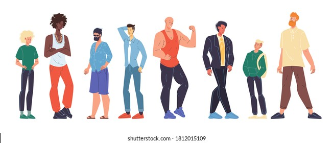 Multiracial man different age, nationality, appearance, body shape type size, weight, height set. Teenage, young, adult male person standing in row isolated on white. Guy outfit diversity
