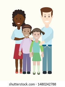 multiracial  mixed family, parents and children. flat design isolated on white. vector image