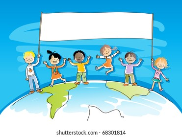 multiracial, multicultural happy kids on top of the world, holding a banner for your message, watercolor style, grouped and layered for easy editing