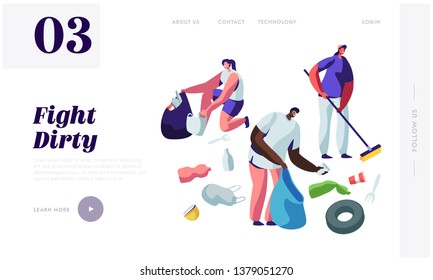 Multiracial Volunteers Characters Picking Up Litter, Planet Cleanup. People Collecting Trash into Bags, Environmental Pollution Website Landing Page, Web Page Cartoon Flat Vector Illustration, Banner