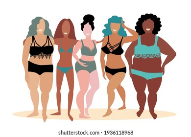 Multiracial women of different figure type and size with underwear. Attractive females posing, standing in row. Body positive movement and beauty diversity. Hand drawn sketch. Vector illustration.