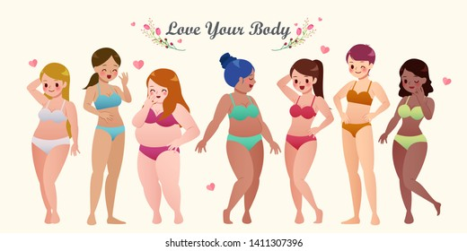 Multiracial women of different height and figure type in swimsuits standing in row