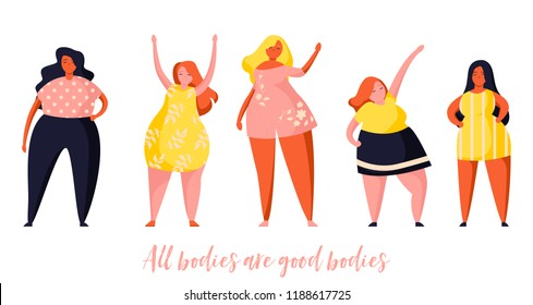 Multiracial women of different height and same figure type and plus size. Female cartoon characters. Body positive movement and beauty diversity. Flat trendy illustration.
