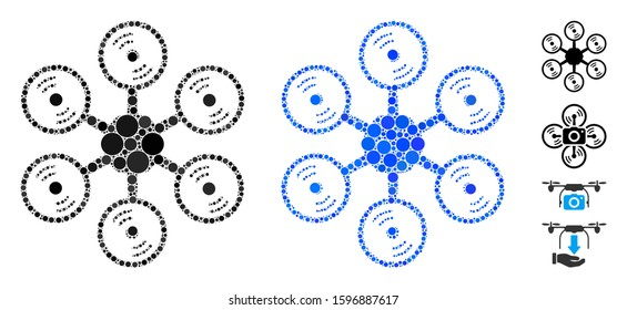 Multirotor mosaic of filled circles in various sizes and color tinges, based on multirotor icon. Vector filled circles are grouped into blue mosaic. Dotted multirotor icon in usual and blue versions.