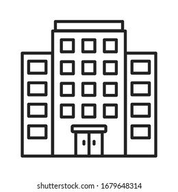 Multi-storey building black line icon. Building with several floors at different levels above the ground. Pictogram for web page, mobile app, promo. UI UX GUI design element. Editable stroke.