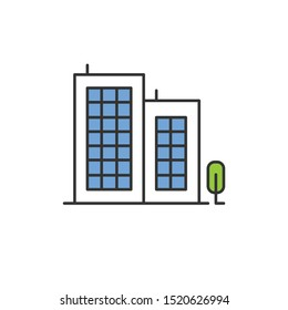 Multi-storey building color icon. Apartment houses and tree. Multistorey housing, modern condo. City accommodation, hotel, business center exterior. Urban property. Isolated vector illustration