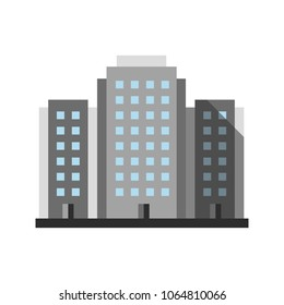 Multi-storey building flat design long shadow color icon. Apartment house. Housing complex. Vector silhouette illustration