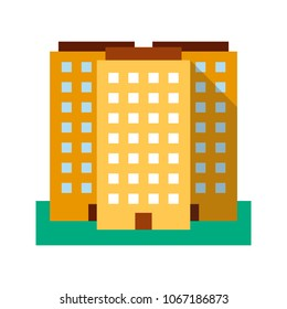 Multi-storey building flat design long shadow color icon. Real estate market. Apartment house. Vector silhouette illustration
