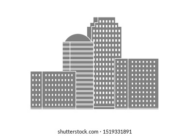Multi-storey building silhouettes on white background. Business center. Vector.