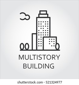 Multistory building concept. Sign of urban houses. Simple mono black line silhouette of modern building. Logo for websites, mobile apps and other design needs. Vector contour graphics