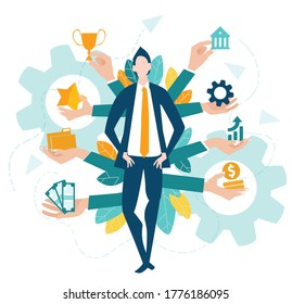 Multitask businessman. Business concept illustration