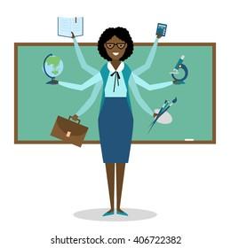 Multitasking african american school teacher near chalk board isolated on white. Teacher shiva concept vector. Teacher woman character. Tutor.