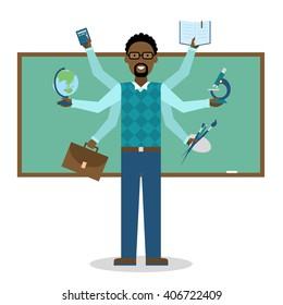 Multitasking african american school teacher near chalk board isolated on white. Teacher shiva concept vector. Teacher man character. Tutor.