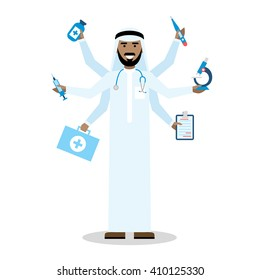 Multitasking arab doctor with six hands standing on white background.  Medical treatment, fast diagnosis and emergency. Saudi doctor shiva is a concept of multiskilled doctor.
