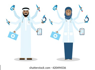 Multitasking arabian doctors with six hands standing on white background.