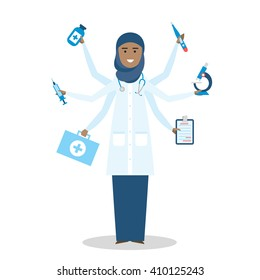 Multitasking arabian female doctor with six hands standing on white background.  Medical treatment, fast diagnosis and emergency. Doctor shiva is a concept of multiskilled doctor.