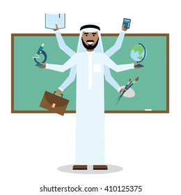 Multitasking arabian teacher with six hands. Arabian teacher in school. Multicultural teacher. Skillful person. Success in tasking and learning.