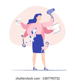 Multitasking business woman and mother concept. Young mother and business woman with six hands doing a lot of tasks at the same time. Flat colorful vector illustration.
