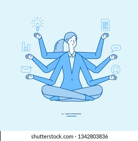 Multitasking business woman. Office manager professional tasking in zen yoga relaxing pose. Office work meditation vector concept