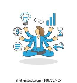 Multitasking business woman as work duties management spot outline concept