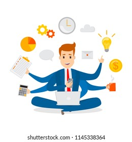 Multitasking businessman. Effective and successful office worker. Happy talented man busy doing many things at once. Isolated vector flat illustration