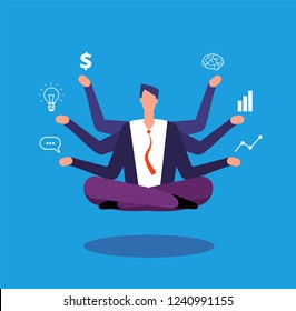 Multitasking businessman. Manager sitting in yoga lotus pose and juggles with tasks. Effective management vector concept