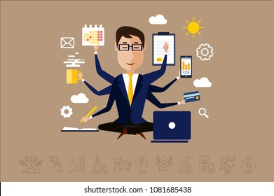 Multitasking businessman with many hands, time management concept vector Illustration in flat style