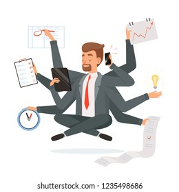 Multitasking businessman. Office worker making much work with hands writing calling reading yoga meditation vector concept character