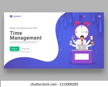 Multitasking businessman performing multiple task in certain time frame for time management concept.