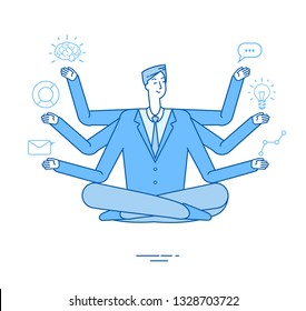 Multitasking businessman. Project manager sitting in relaxation yoga lotus pose thinking on tasks. Effective management vector concept