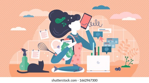 Multitasking busy mom at home concept, vector illustration tiny female person concept. A woman managing the balance between family life, house work and business career. Overloaded person in pressure.