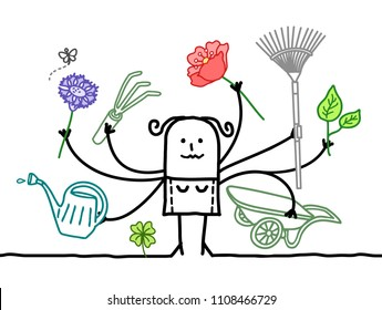 Multitasking Cartoon Gardener with many Arms