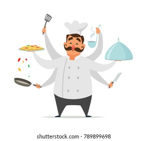 Multitasking chef cooking. Vector funny character isolate on white. Multitask kitchen chef cooking talented illustration
