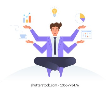 Multitasking concept. Business man sitting and meditating in lotus pose with four hands. Freelance work and effective time management. Vector illustration in flat linear style.