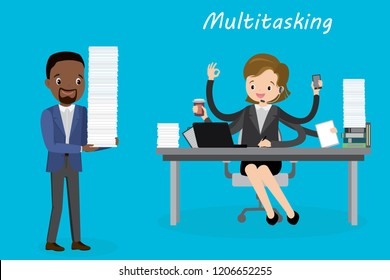 Multitasking european female behind a desk in modern office,successful businesswoman or office worker,african american male with stack of paper,overwork concept,flat vector illustration