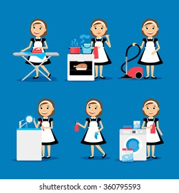 Multitasking housewife Vector illustration. Housekeeper woman ironing, cleaning, cooking and washing