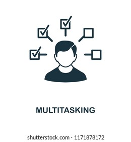 Multitasking icon. Monochrome style design from management collection. UI. Pixel perfect simple pictogram multitasking icon. Web design, apps, software, print usage.