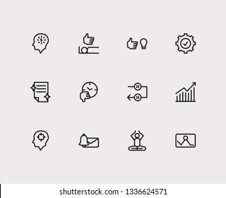 Multitasking icons set. Mediate and multitasking icons with work smarter, perfection and periodic breaks. Set of unlike for web app logo UI design.