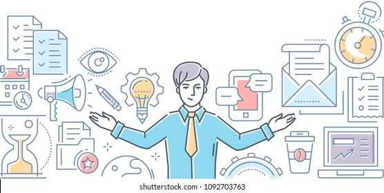Multitasking - line design style illustration on white background. Colorful composition with a businessman, megaphone, lightbulb, check lists, mail, timer, hourglass, smartphone, coffee cup