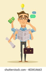 Multitasking man. Vector flat cartoon illustration