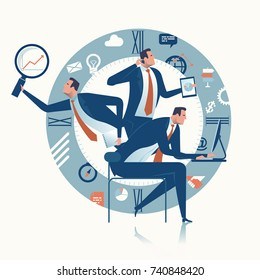 Multitasking manager. Business concept illustration.