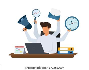 Multitasking manager working on laptop. Effective management vector concept. Vector illustration on white background.