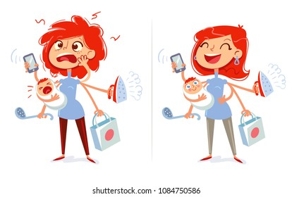 Multitasking mom and housewife. Tired and cheerful woman. Funny cartoon character. Vector illustration. Isolated on white background. Set