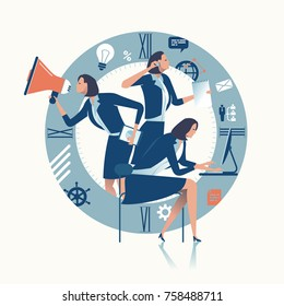 Multitasking. Multi-tasking office worker. Business concept illustration.